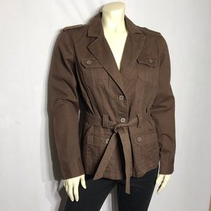 French Cuff Brown Military Style Cotton Jacket